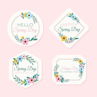 Collezione di etichette di primavera design piatto
