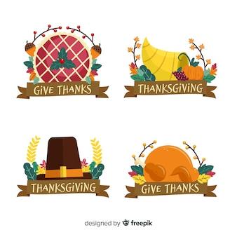 Collezione di etichette di ringraziamento disegnata a mano