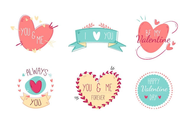 Collezione di etichette di san valentino disegnati a mano