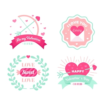 Collezione di etichette di san valentino in design piatto