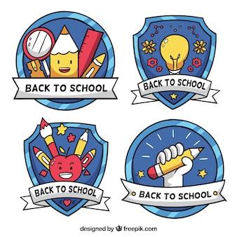 Collezione di etichette di scuola disegnata a mano originale