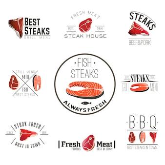 Collezione di etichette di steak house