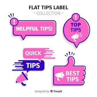 Collezione di etichette di suggerimenti moderni con design piatto