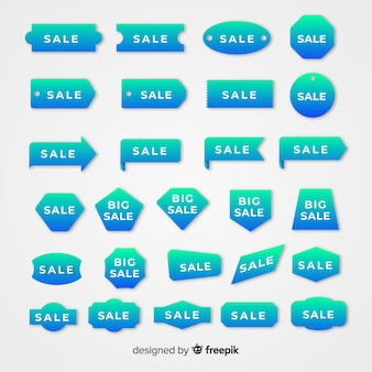 Collezione di etichette di vendita a gradiente