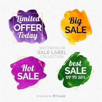 Collezione di etichette di vendita ad acquerello