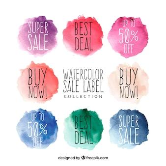 Collezione di etichette di vendita dell'acquerello