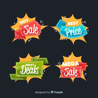 Collezione di etichette di vendita design piatto