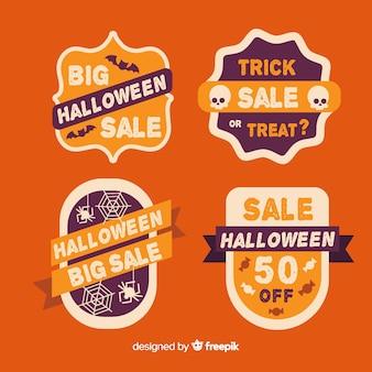 Collezione di etichette di vendita di halloween con design piatto