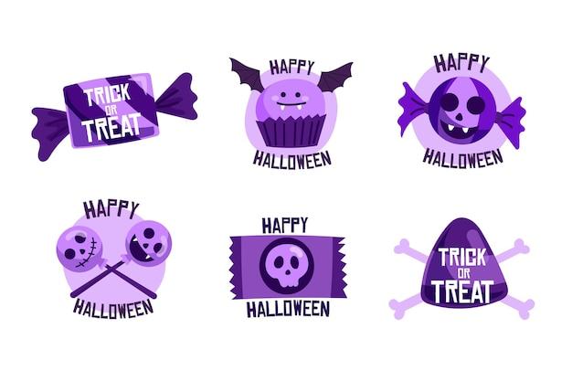 Collezione di etichette di vendita di halloween disegnata a mano
