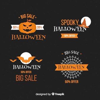 Collezione di etichette di vendita di halloween su design piatto