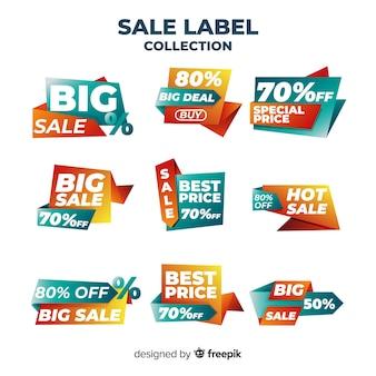 Collezione di etichette di vendita gradiente