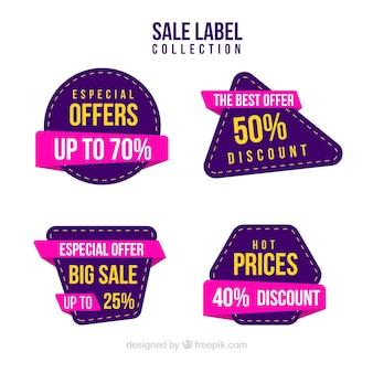 Collezione di etichette di vendita in diversi colori