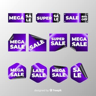 Collezione di etichette di vendita lucida