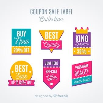 Collezione di etichette di vendita moderna coupon con design piatto
