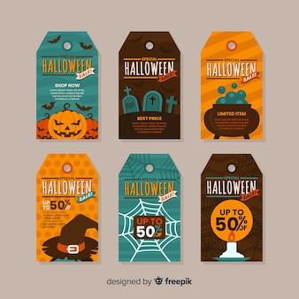 Collezione di etichette di vendita piatto halloween