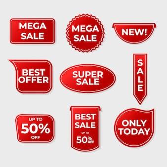 Collezione di etichette di vendita rosso realistico
