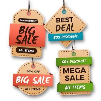 Collezione di etichette di vendita sospese realistiche