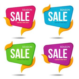 Collezione di etichette di vendita tag prezzo bannesr adesivi modelli di badge. illustrazione vettoriale