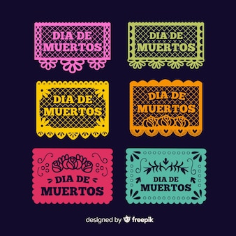Collezione di etichette dia de muertos design piatto