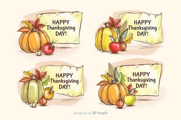 Collezione di etichette disegnate a mano del ringraziamento