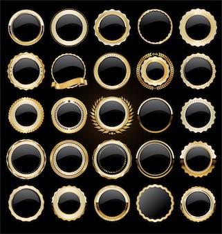 Collezione di etichette e distintivi di vendita retrò oro e nero