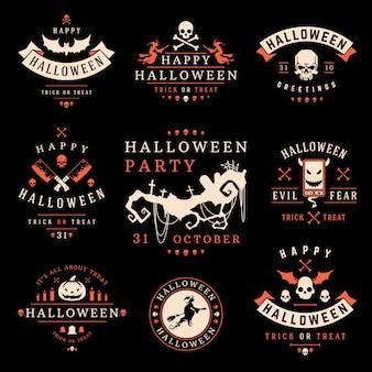 Collezione di etichette e loghi di halloween