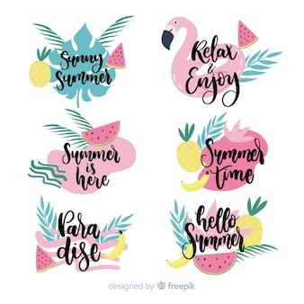 Collezione di etichette estate disegnata a mano colorata
