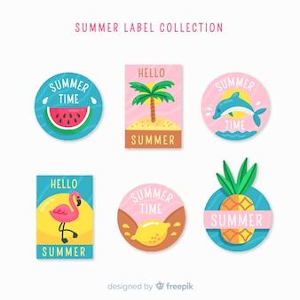 Collezione di etichette estive disegnate a mano