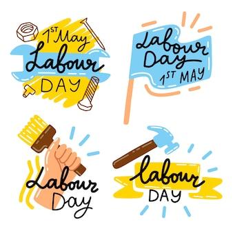 Collezione di etichette festa del lavoro disegnati a mano