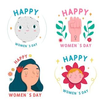 Collezione di etichette giorno delle donne disegnate a mano