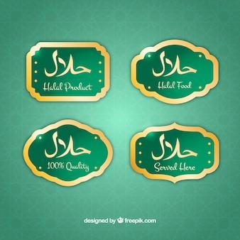 Collezione di etichette halal dorate con design piatto