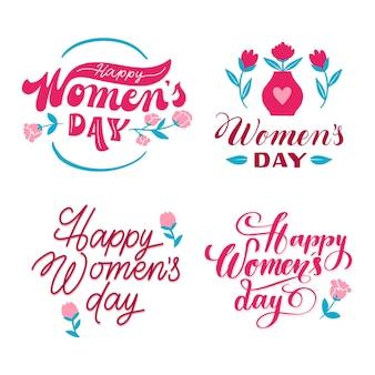 Collezione di etichette lettering festa della donna
