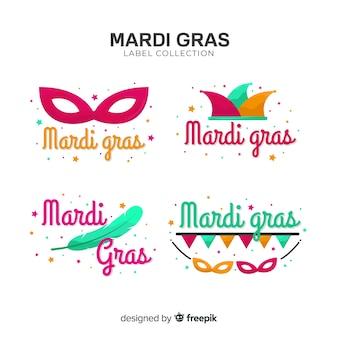 Collezione di etichette mardi gras