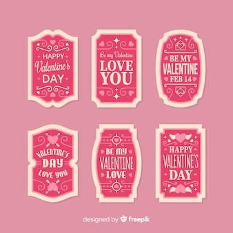 Collezione di etichette messaggio san valentino