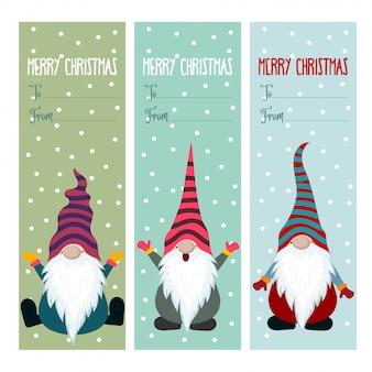 Collezione di etichette natalizie con gnomi
