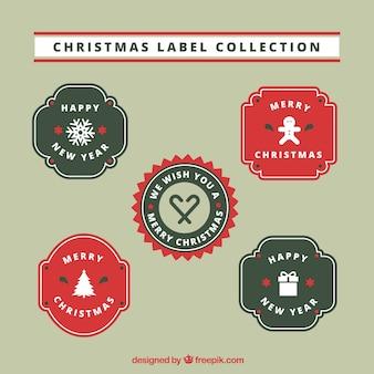 Collezione di etichette natalizie di quattro
