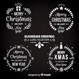 Collezione di etichette natalizie lavagna
