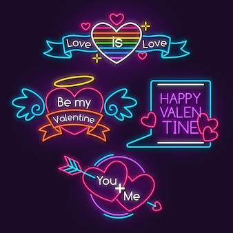 Collezione di etichette neon san valentino