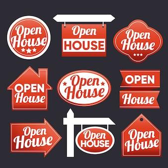 Collezione di etichette open house