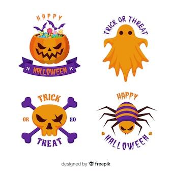 Collezione di etichette originali di halloween con design piatto