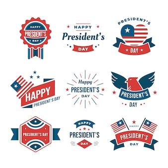 Collezione di etichette per il giorno dei presidenti