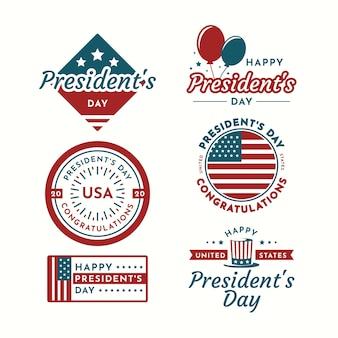 Collezione di etichette per il giorno del presidente con palloncini
