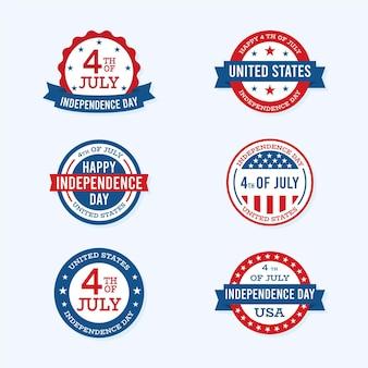 Collezione di etichette per il giorno dell'indipendenza