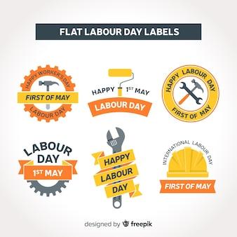 Collezione di etichette per il giorno di lavoro piatto