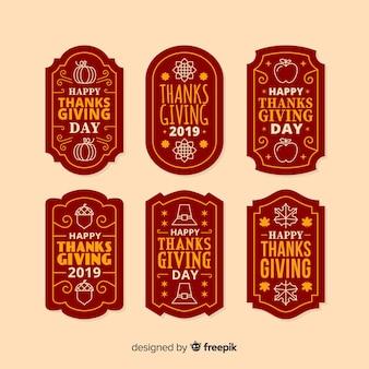 Collezione di etichette per il ringraziamento in design piatto
