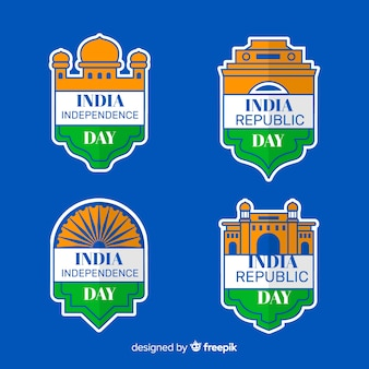 Collezione di etichette per l'indipendenza dell'india
