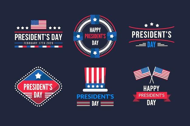 Collezione di etichette per la celebrazione del giorno del presidente
