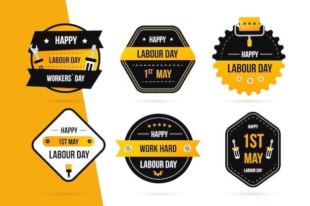 Collezione di etichette per la festa del lavoro design piatto