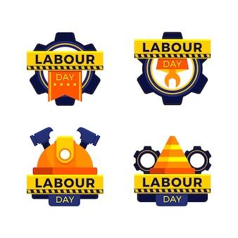 Collezione di etichette per la festa del lavoro piatta