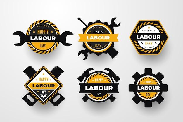 Collezione di etichette per la festa del lavoro